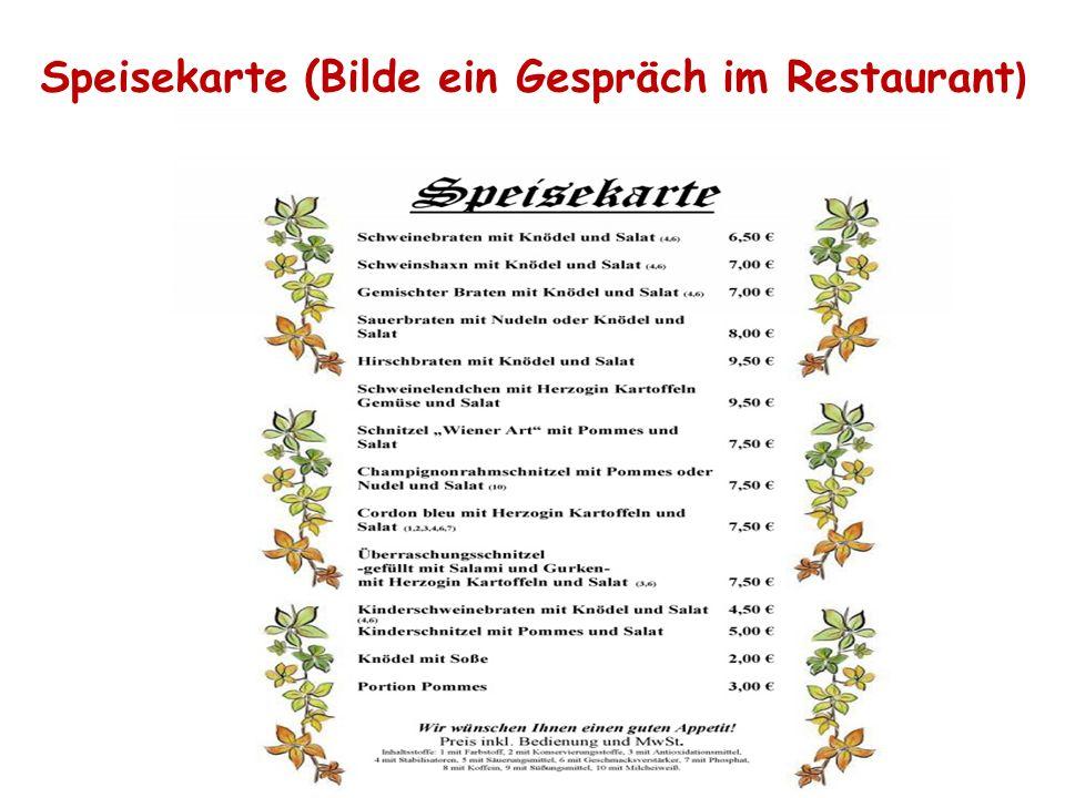 Speisekarte (Bilde ein Gespräch im Restaurant )