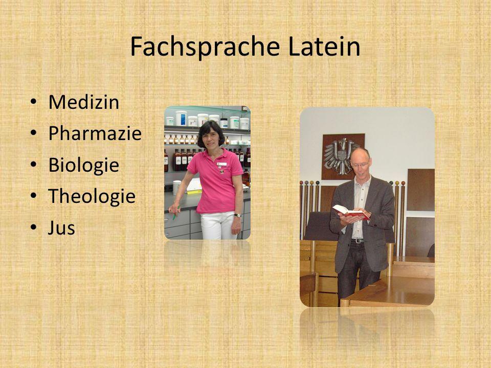 Fachsprache Latein Medizin Pharmazie Biologie Theologie Jus