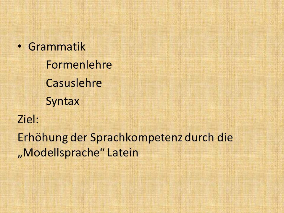Grammatik Formenlehre Casuslehre Syntax Ziel: Erhöhung der Sprachkompetenz durch die Modellsprache Latein