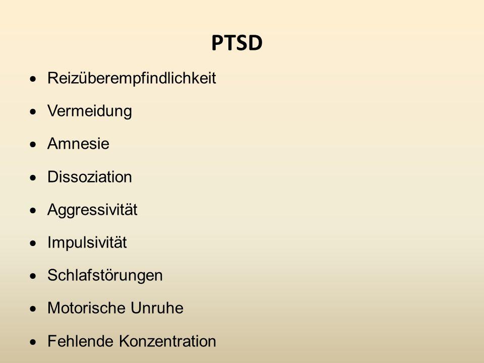 PTSD Reizüberempfindlichkeit Vermeidung Amnesie Dissoziation Aggressivität Impulsivität Schlafstörungen Motorische Unruhe Fehlende Konzentration