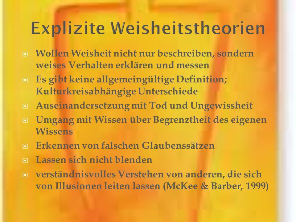 Wollen Weisheit nicht nur beschreiben, sondern weises Verhalten erklären und messen Es gibt keine allgemeingültige Definition; Kulturkreisabhängige Un