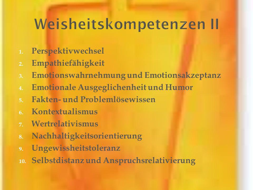 1. Perspektivwechsel 2. Empathiefähigkeit 3. Emotionswahrnehmung und Emotionsakzeptanz 4. Emotionale Ausgeglichenheit und Humor 5. Fakten- und Problem