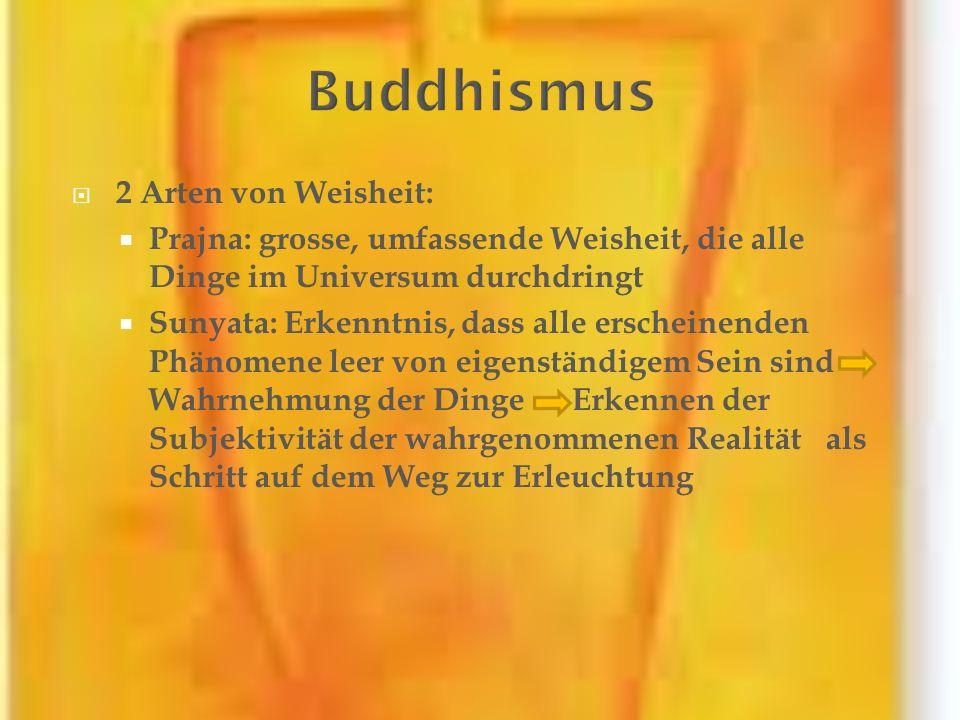 2 Arten von Weisheit: Prajna: grosse, umfassende Weisheit, die alle Dinge im Universum durchdringt Sunyata: Erkenntnis, dass alle erscheinenden Phänom