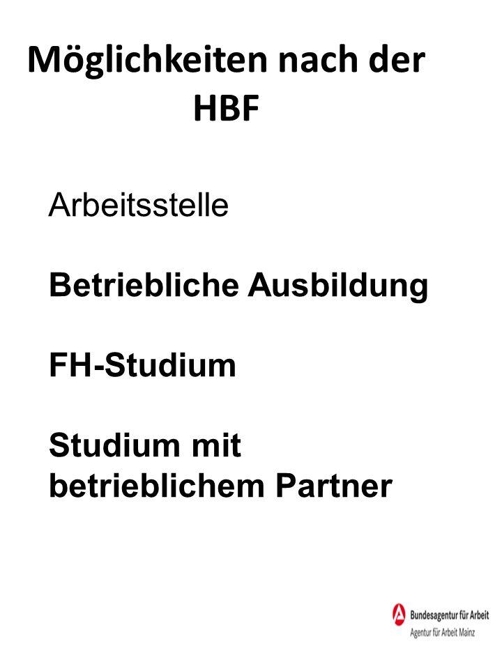 Möglichkeiten nach der HBF Arbeitsstelle Betriebliche Ausbildung FH-Studium Studium mit betrieblichem Partner