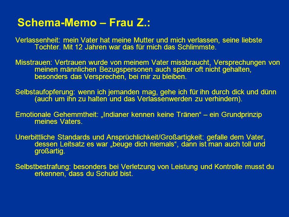 Schema-Memo – Frau Z.: Verlassenheit: mein Vater hat meine Mutter und mich verlassen, seine liebste Tochter.