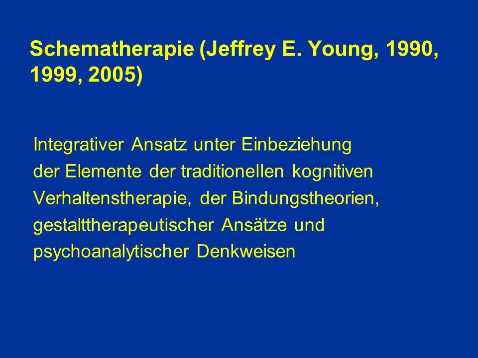Schemaeinschätzung und Veränderung 1.Edukationsphase und Diagnostik 2.Veränderungsphase o kognitive Techniken - Beweise für das Zutreffen des Schemas prüfen - Umdeuten (refraiming) der Beweise, die ein Schema stützen - Beurteilung der Vor- und Nachteile für den Patienten - Initiieren eines Dialoges zwischen Schemaseite und gesunder Seite - Erinnerungskarten mit Merksätzen (Schema-Memo) - Führen eines Schema-Tagebuches o Erlebnisbasierte Techniken - Imaginations- und Dialogarbeit, um Schemata affektiv zu erleben - Vorstellung eines sicheren Ortes - Bilder aus der Kindheit - Bilder, die Vergangenheit mit Gegenwart verbinden - Bildliche Vorstellungen im Sinne von Schemata verstehen