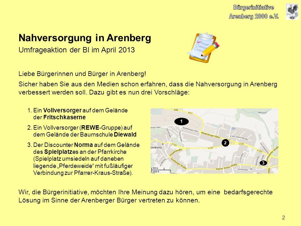 Liebe Bürgerinnen und Bürger in Arenberg! Sicher haben Sie aus den Medien schon erfahren, dass die Nahversorgung in Arenberg verbessert werden soll. D