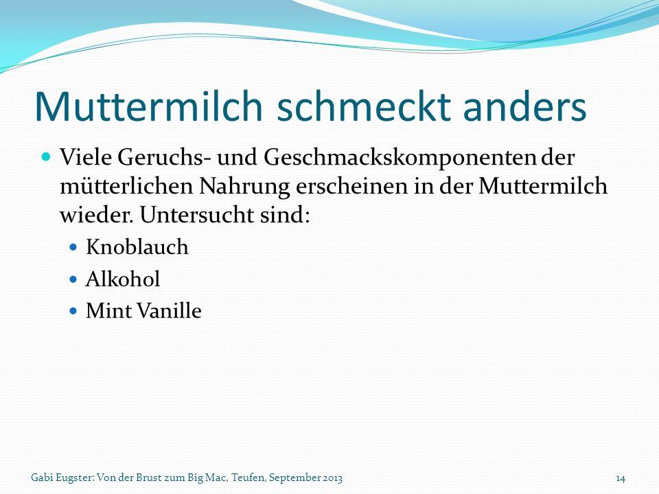 Muttermilch schmeckt anders Viele Geruchs- und Geschmackskomponenten der mütterlichen Nahrung erscheinen in der Muttermilch wieder. Untersucht sind: K