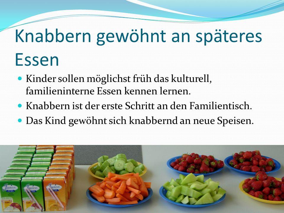Knabbern gewöhnt an späteres Essen Kinder sollen möglichst früh das kulturell, familieninterne Essen kennen lernen. Knabbern ist der erste Schritt an