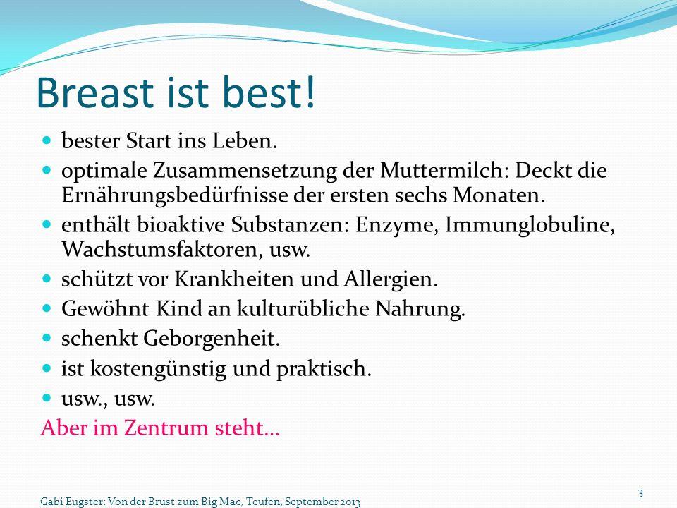 Breast ist best! bester Start ins Leben. optimale Zusammensetzung der Muttermilch: Deckt die Ernährungsbedürfnisse der ersten sechs Monaten. enthält b