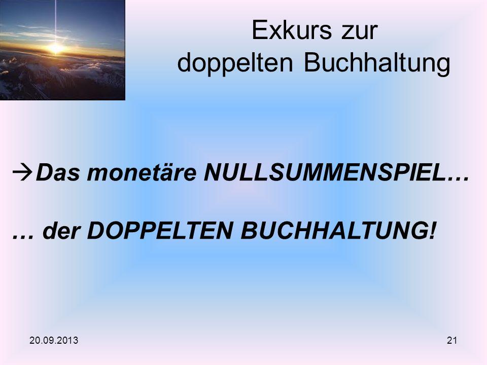 Exkurs zur doppelten Buchhaltung 20.09.2013 Das monetäre NULLSUMMENSPIEL… … der DOPPELTEN BUCHHALTUNG! 21