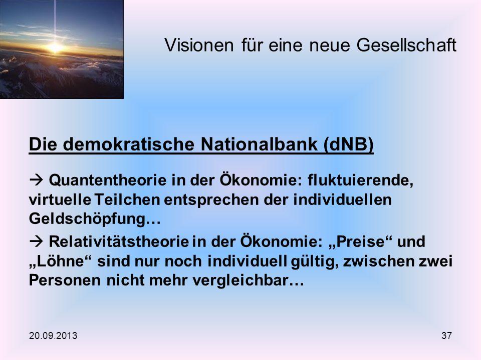 Die demokratische Nationalbank (dNB) Quantentheorie in der Ökonomie: fluktuierende, virtuelle Teilchen entsprechen der individuellen Geldschöpfung… Re