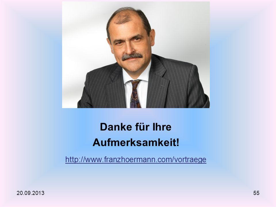 Danke für Ihre Aufmerksamkeit! http://www.franzhoermann.com/vortraege 20.09.201355