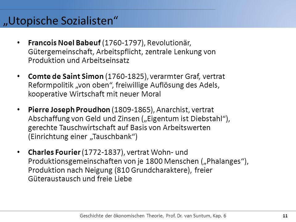 Utopische Sozialisten Geschichte der ökonomischen Theorie, Prof. Dr. van Suntum, Kap. 6 11 Francois Noel Babeuf (1760-1797), Revolutionär, Gütergemein