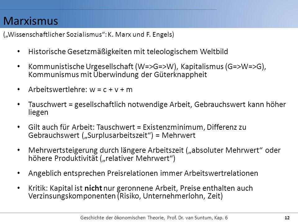 Marxismus Geschichte der ökonomischen Theorie, Prof. Dr. van Suntum, Kap. 6 12 Historische Gesetzmäßigkeiten mit teleologischem Weltbild Kommunistisch