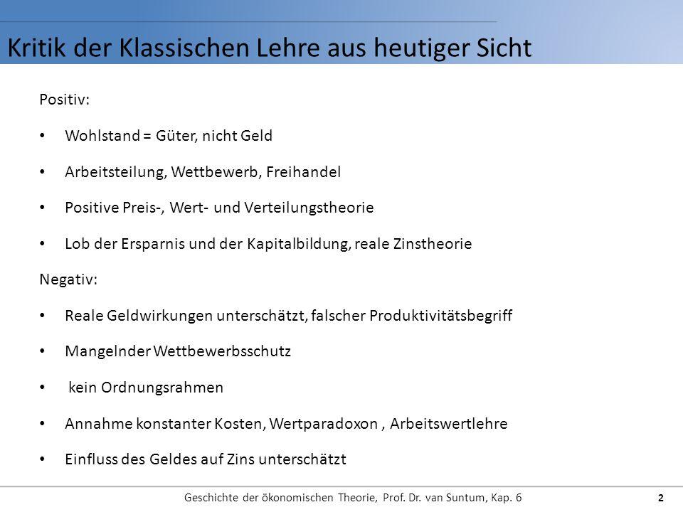 Kritik der Klassischen Lehre aus heutiger Sicht Geschichte der ökonomischen Theorie, Prof. Dr. van Suntum, Kap. 6 2 Positiv: Wohlstand = Güter, nicht