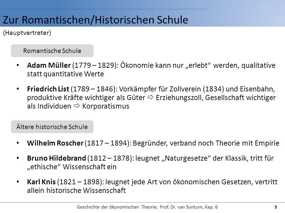 Zur Romantischen/Historischen Schule Geschichte der ökonomischen Theorie, Prof. Dr. van Suntum, Kap. 6 5 Adam Müller (1779 – 1829): Ökonomie kann nur