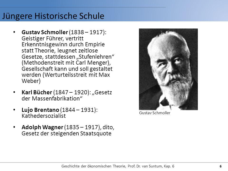 Jüngere Historische Schule Geschichte der ökonomischen Theorie, Prof. Dr. van Suntum, Kap. 6 6 Gustav Schmoller (1838 – 1917): Geistiger Führer, vertr
