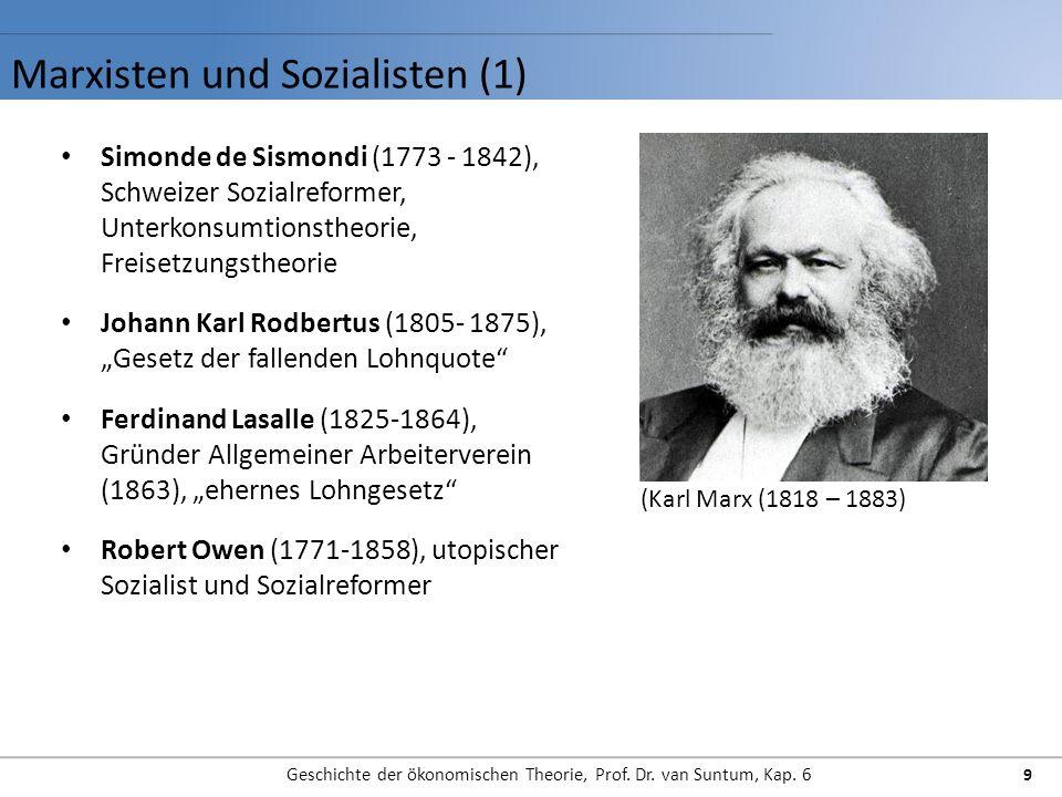 Marxisten und Sozialisten (1) Geschichte der ökonomischen Theorie, Prof. Dr. van Suntum, Kap. 6 9 Simonde de Sismondi (1773 - 1842), Schweizer Sozialr