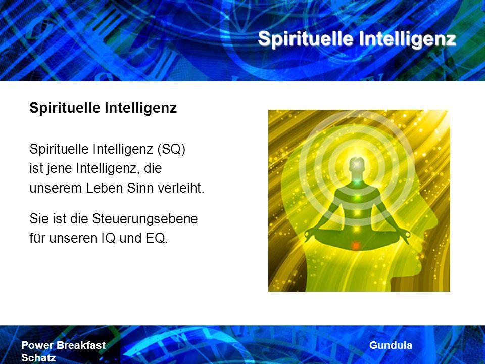 Spirituelle Intelligenz Power Breakfast Gundula Schatz Spirituelle Intelligenz Spirituelle Intelligenz (SQ) ist jene Intelligenz, die unserem Leben Si