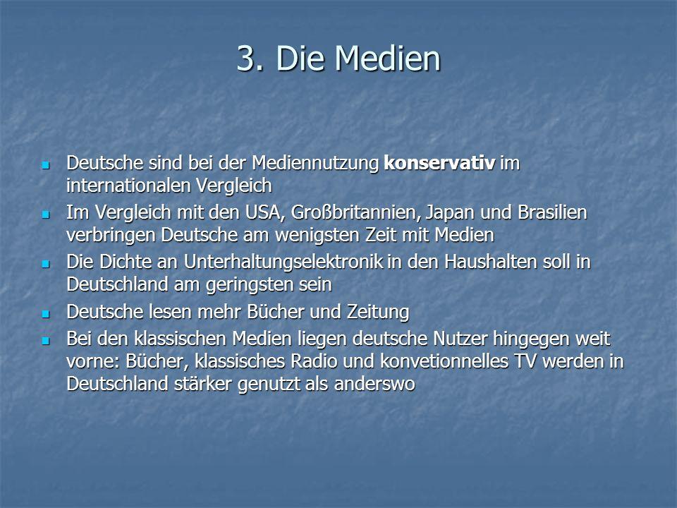 3. Die Medien Deutsche sind bei der Mediennutzung konservativ im internationalen Vergleich Deutsche sind bei der Mediennutzung konservativ im internat
