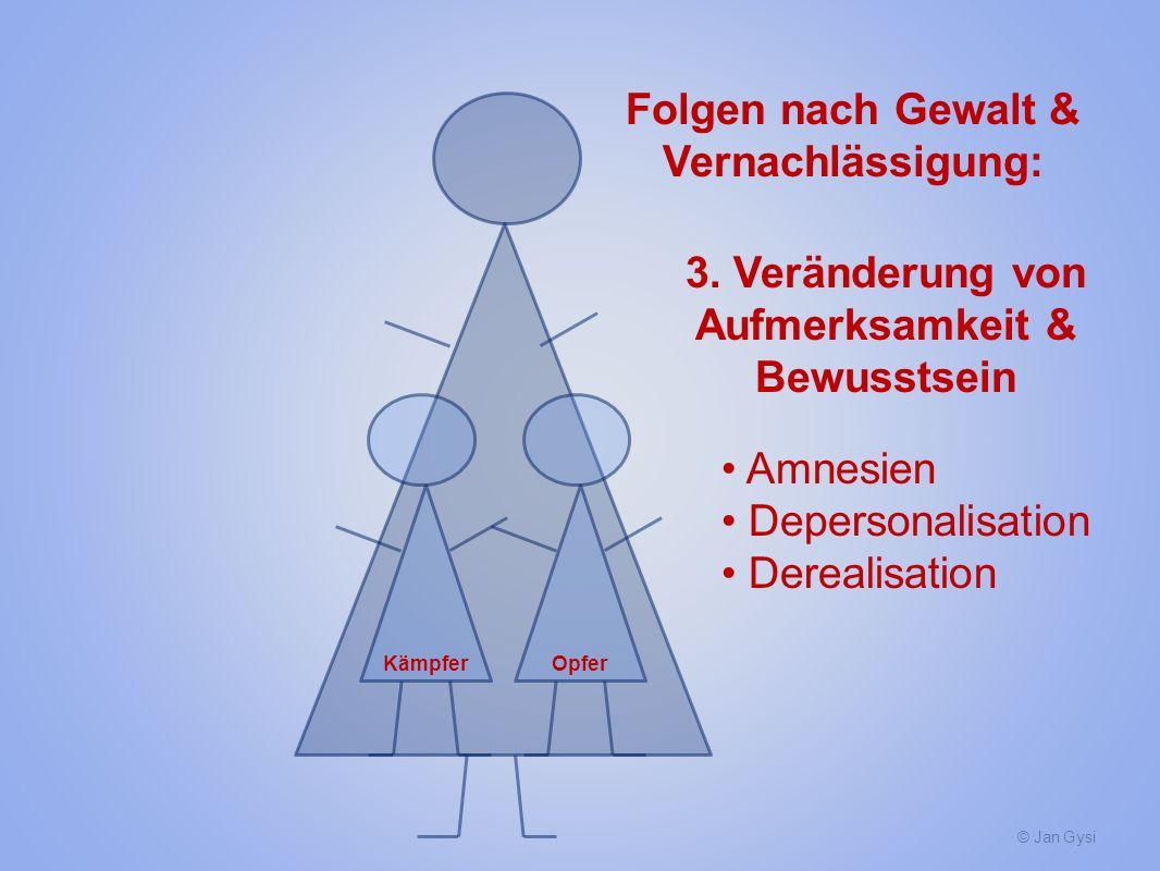 © Jan Gysi KämpferOpfer Folgen nach Gewalt & Vernachlässigung: 3. Veränderung von Aufmerksamkeit & Bewusstsein Amnesien Depersonalisation Derealisatio