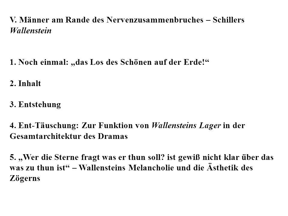 V. Männer am Rande des Nervenzusammenbruches – Schillers Wallenstein 1. Noch einmal: das Los des Schönen auf der Erde! 2. Inhalt 3. Entstehung 4. Ent-
