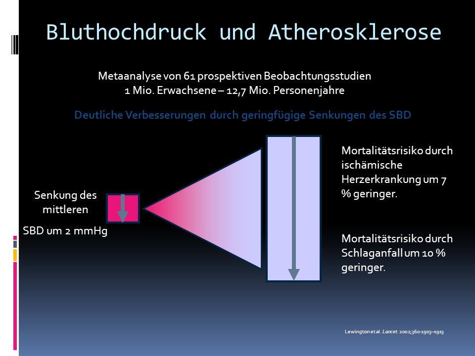 Metaanalyse von 61 prospektiven Beobachtungsstudien 1 Mio. Erwachsene – 12,7 Mio. Personenjahre Senkung des mittleren SBD um 2 mmHg Mortalitätsrisiko