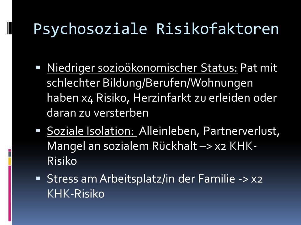 Psychosoziale Risikofaktoren Niedriger sozioökonomischer Status: Pat mit schlechter Bildung/Berufen/Wohnungen haben x4 Risiko, Herzinfarkt zu erleiden