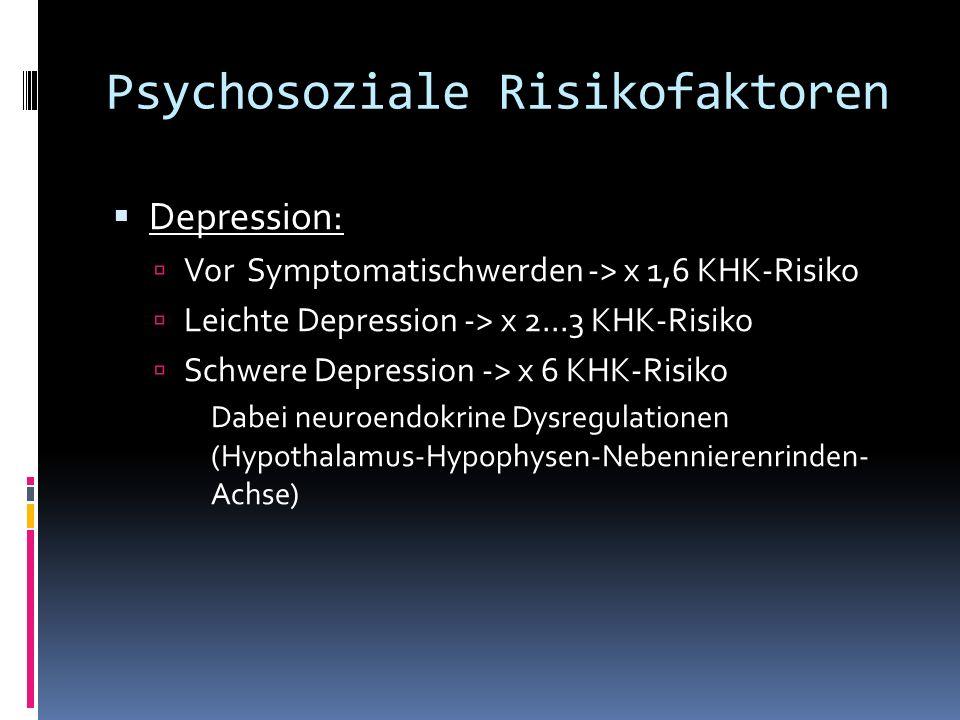 Psychosoziale Risikofaktoren Depression: Vor Symptomatischwerden -> x 1,6 KHK-Risiko Leichte Depression -> x 2...3 KHK-Risiko Schwere Depression -> x