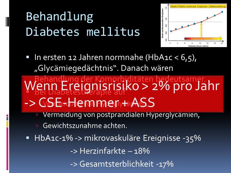 Behandlung Diabetes mellitus In ersten 12 Jahren normnahe (HbA1c < 6,5), Glycämiegedächtnis. Danach wären Behandlung der Komorbiditäten bedeutsamer. B