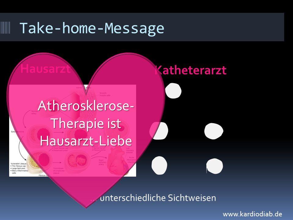 Take-home-Message Hausarzt Katheterarzt... unterschiedliche Sichtweisen Atherosklerose- Therapie ist Hausarzt-Liebe www.kardiodiab.de