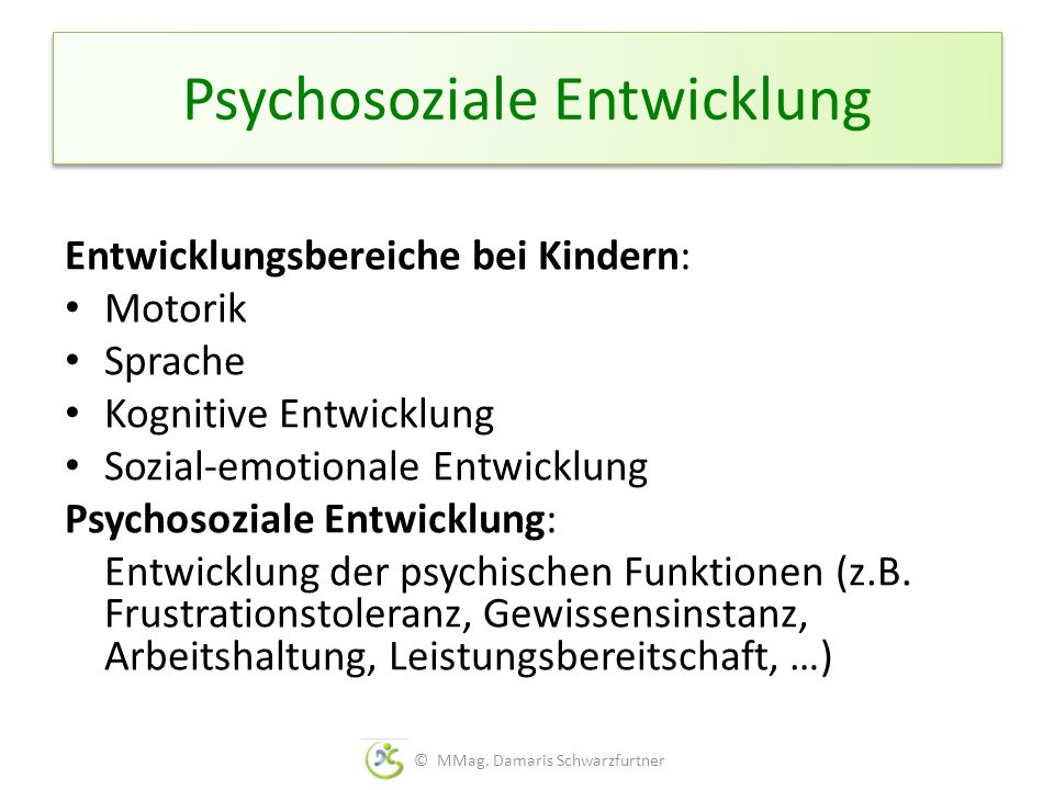 Psychosoziale Entwicklung Entwicklungsbereiche bei Kindern: Motorik Sprache Kognitive Entwicklung Sozial-emotionale Entwicklung Psychosoziale Entwickl