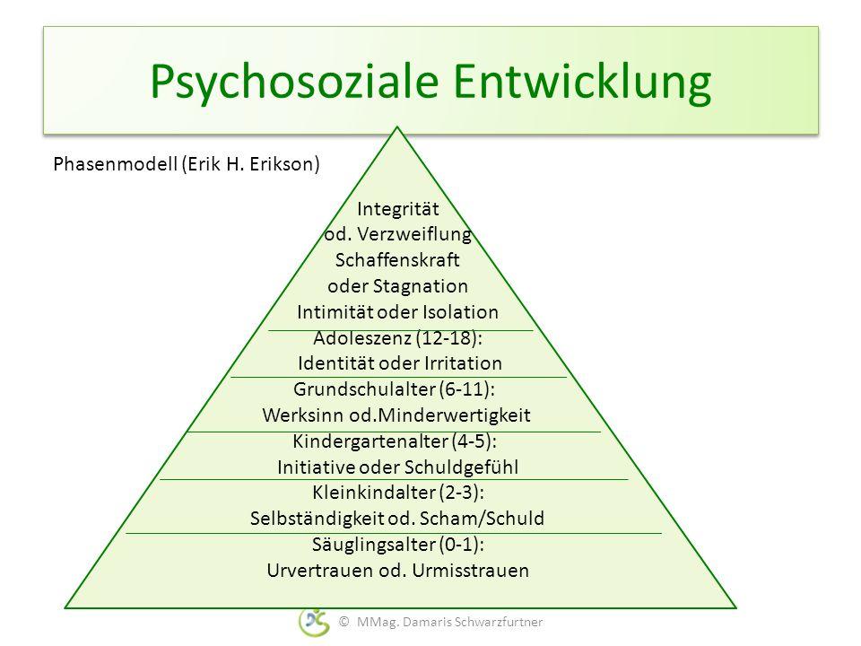 Psychosoziale Entwicklung Phasenmodell (Erik H. Erikson) © MMag. Damaris Schwarzfurtner Integrität od. Verzweiflung Schaffenskraft oder Stagnation Int