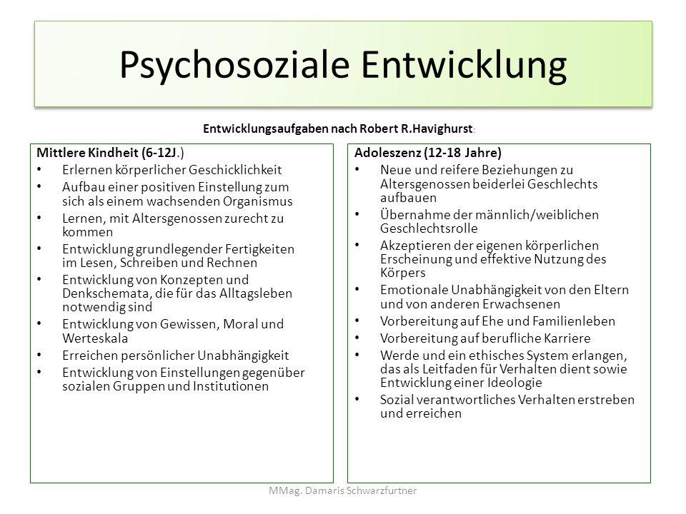 Psychosoziale Entwicklung Entwicklungsaufgaben nach Robert R.Havighurst : Mittlere Kindheit (6-12J.) Erlernen körperlicher Geschicklichkeit Aufbau ein