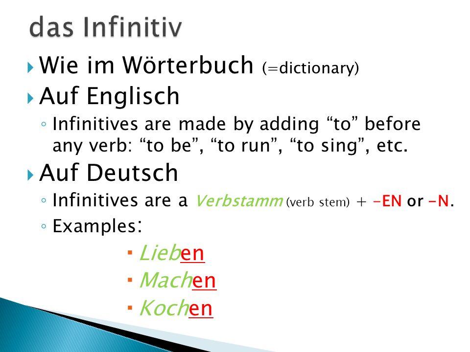 Konjugieren: das Verb und das Subjekt passen zusammen (verb and subject go together) Beispiele: Auf Englisch: to go I go home.