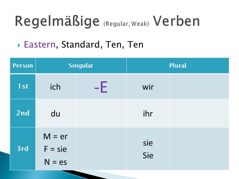 Eastern, Standard, Ten, Ten PersonSingularPlural 1st ich -E wir 2nd du -ST ihr 3rd M = er F = sie N = es sie Sie