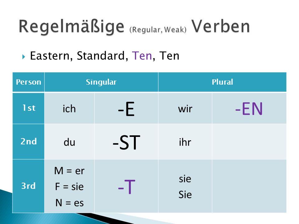 Eastern, Standard, Ten, Ten PersonSingularPlural 1st ich -E wir -EN 2nd du -ST ihr -T 3rd M = er F = sie N = es -T sie Sie -EN