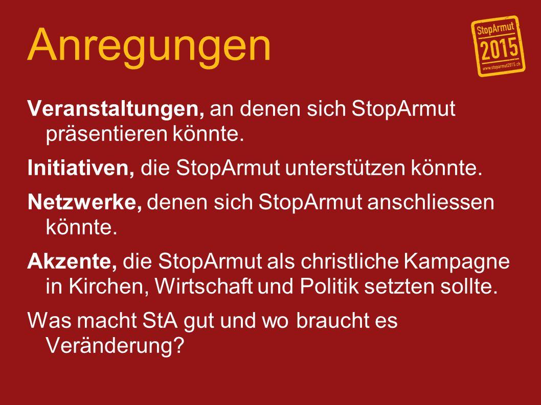 Anregungen Veranstaltungen, an denen sich StopArmut präsentieren könnte.