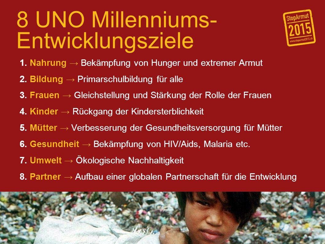 8 UNO Millenniums- Entwicklungsziele 1. Nahrung Bekämpfung von Hunger und extremer Armut 2.