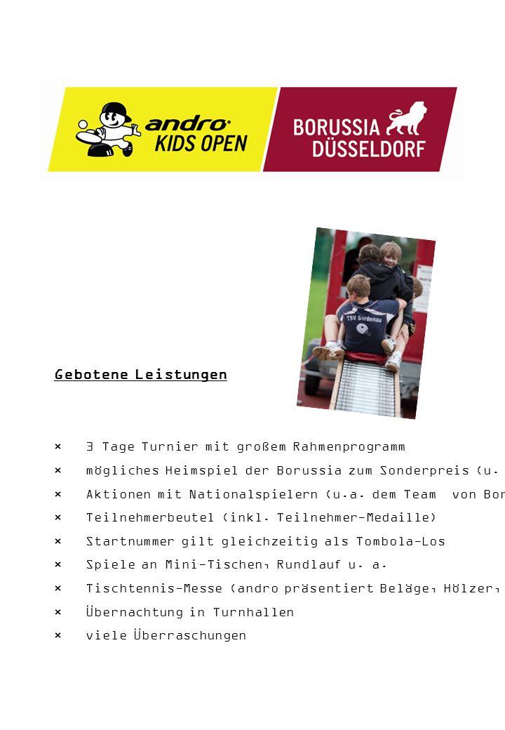 Gebotene Leistungen × 3 Tage Turnier mit großem Rahmenprogramm × mögliches Heimspiel der Borussia zum Sonderpreis (u.