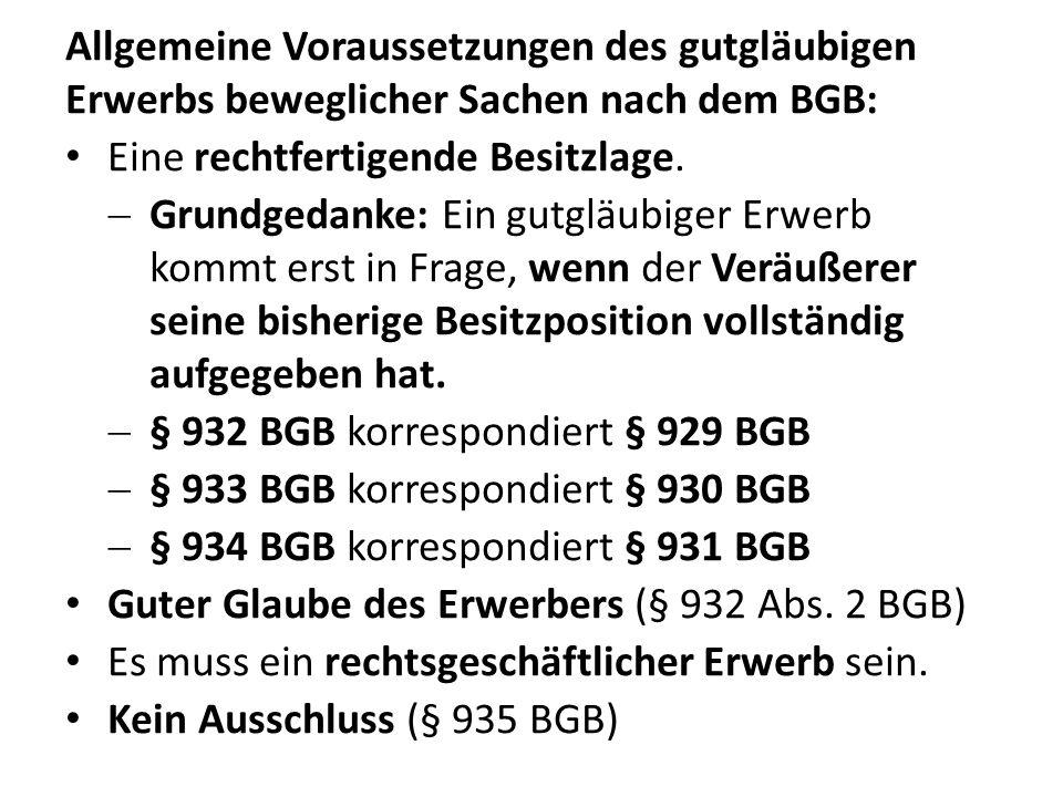Allgemeine Voraussetzungen des gutgläubigen Erwerbs beweglicher Sachen nach dem BGB: Eine rechtfertigende Besitzlage.