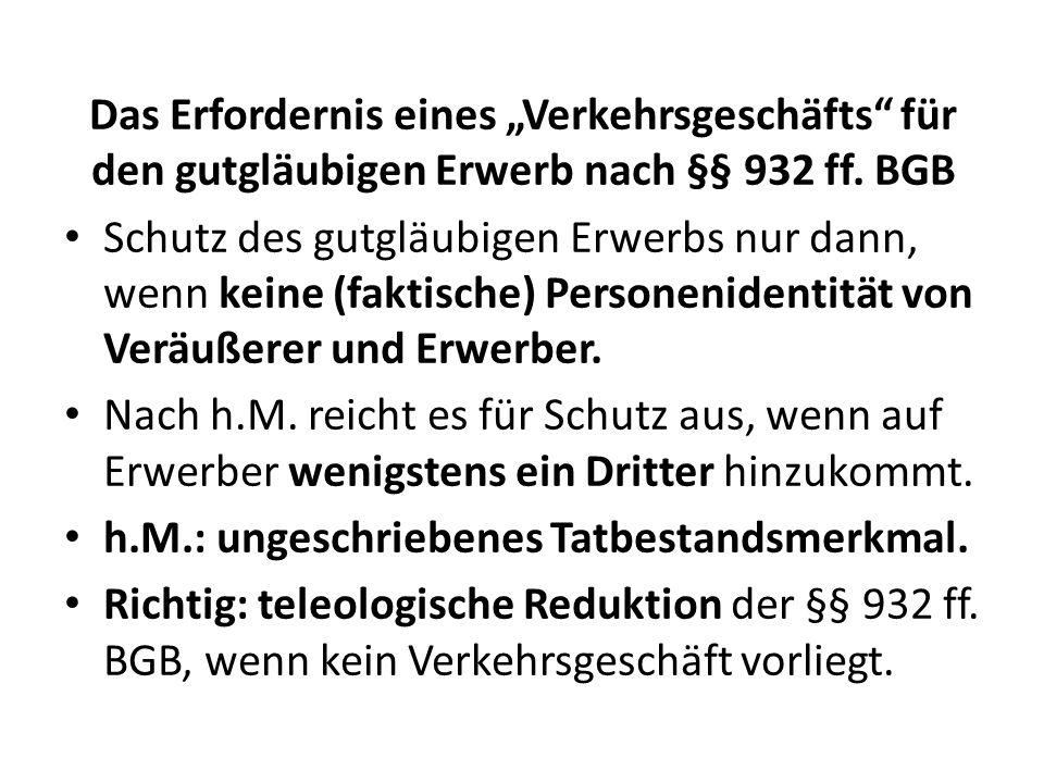 Das Erfordernis eines Verkehrsgeschäfts für den gutgläubigen Erwerb nach §§ 932 ff. BGB Schutz des gutgläubigen Erwerbs nur dann, wenn keine (faktisch