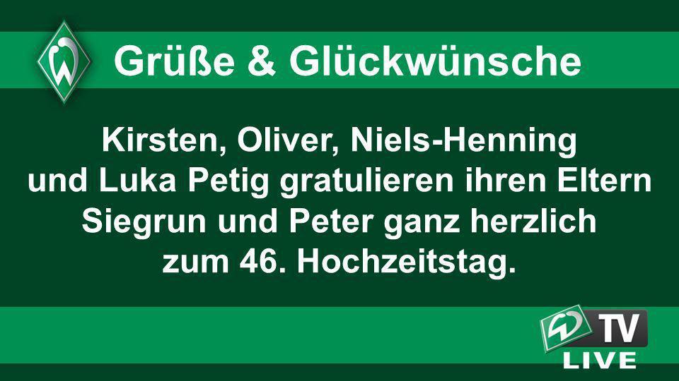 Kirsten, Oliver, Niels-Henning und Luka Petig gratulieren ihren Eltern Siegrun und Peter ganz herzlich zum 46. Hochzeitstag. Grüße & Glückwünsche