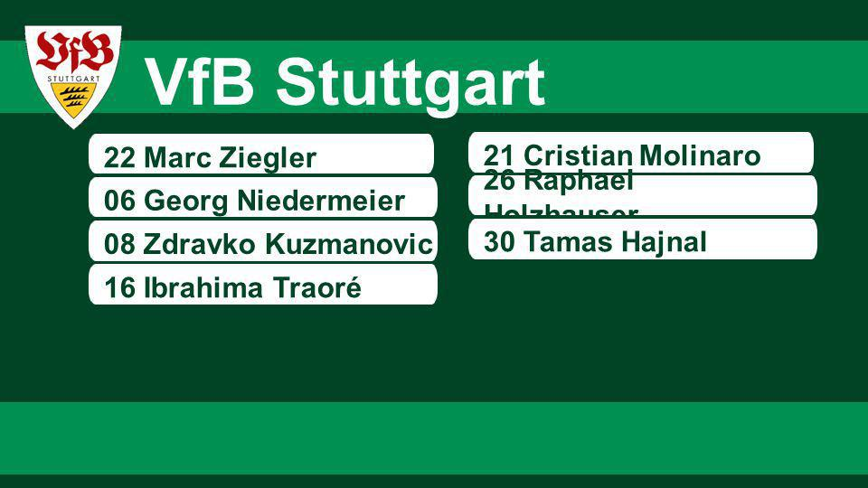 22 Marc Ziegler 06 Georg Niedermeier 08 Zdravko Kuzmanovic 21 Cristian Molinaro 26 Raphael Holzhauser 16 Ibrahima Traoré 30 Tamas Hajnal VfB Stuttgart