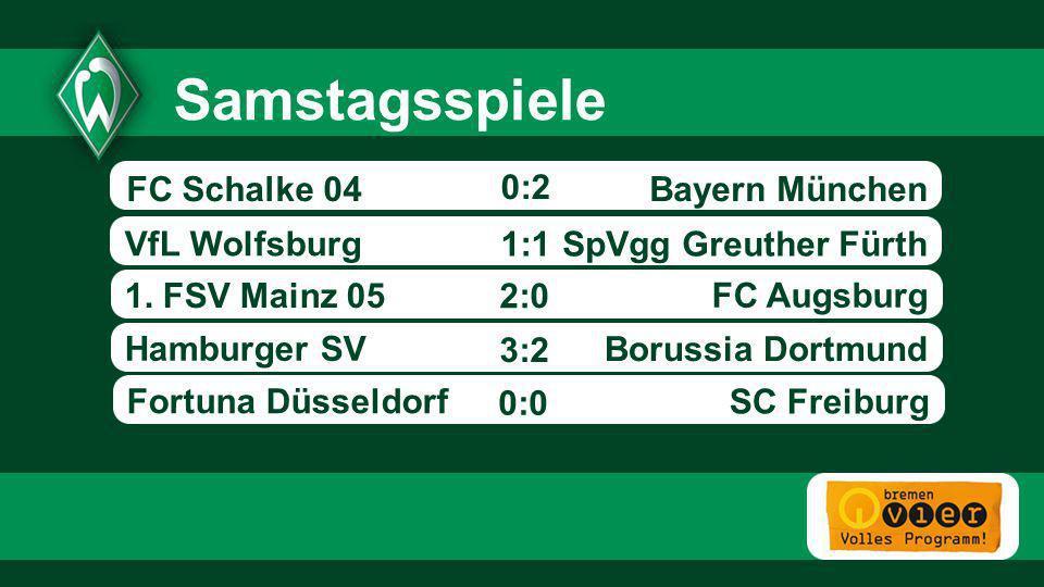 Bayern München SpVgg Greuther Fürth VfL Wolfsburg 1. FSV Mainz 05 FC Augsburg Hamburger SV - 0:2 Borussia Dortmund Samstagsspiele 1:1 2:0 FC Schalke 0