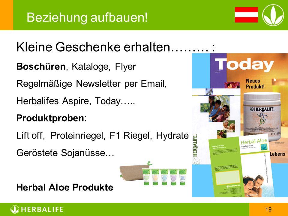 19 Beziehung aufbauen! Kleine Geschenke erhalten……… : Boschüren, Kataloge, Flyer Regelmäßige Newsletter per Email, Herbalifes Aspire, Today….. Produkt
