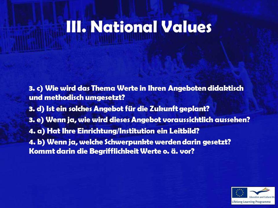 III. National Values 3.
