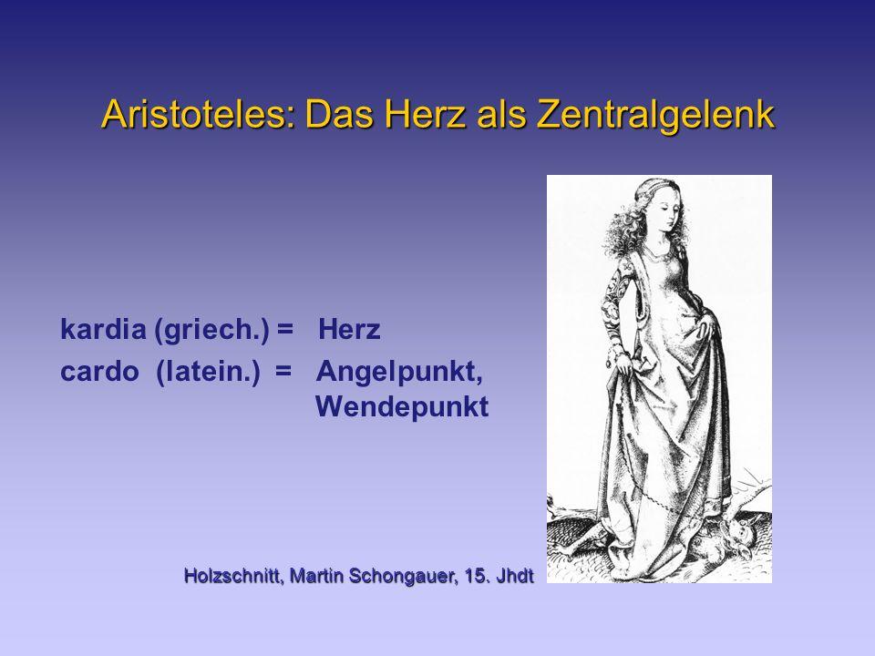 Aristoteles: Das Herz als Zentralgelenk kardia (griech.) = Herz cardo (latein.) = Angelpunkt, Wendepunkt Holzschnitt, Martin Schongauer, 15.