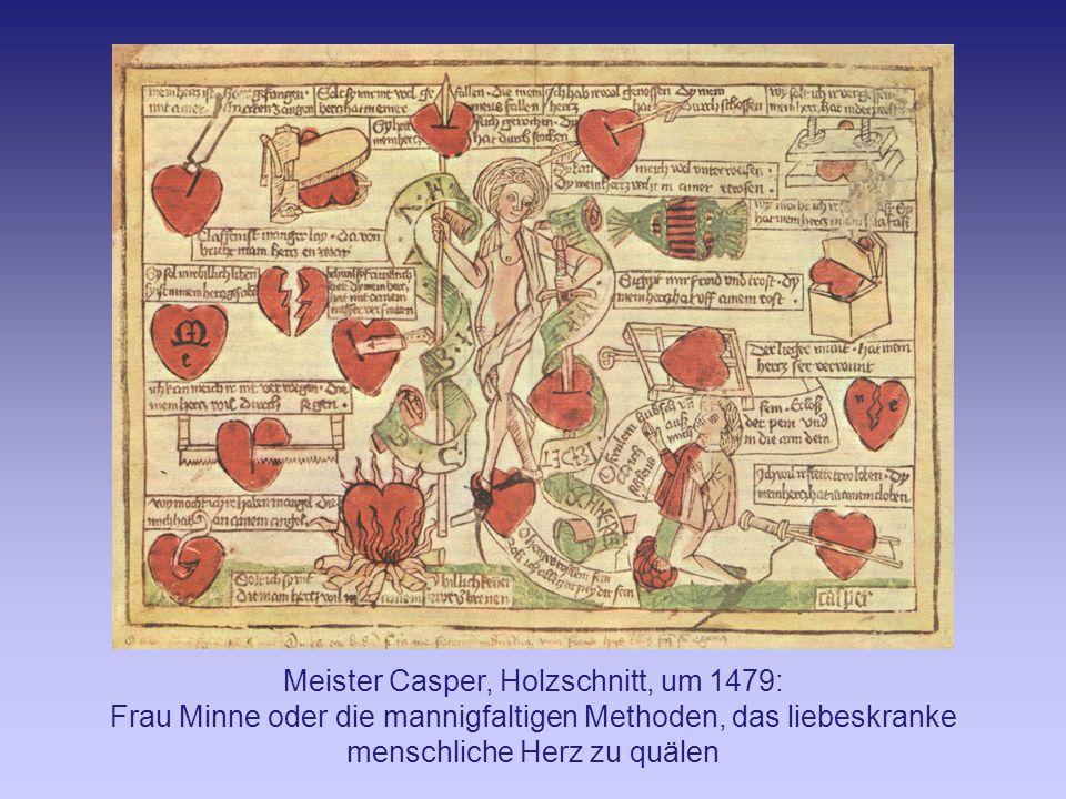 Meister Casper, Holzschnitt, um 1479: Frau Minne oder die mannigfaltigen Methoden, das liebeskranke menschliche Herz zu quälen